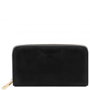 Tuscany Leather TL141206 Esclusivo portafogli in pelle da donna con zip su 3 lati e soffietti Nero