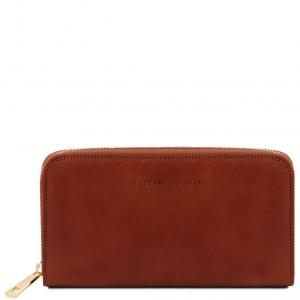 Tuscany Leather TL141206 Esclusivo portafogli in pelle da donna con zip su 3 lati e soffietti Marrone