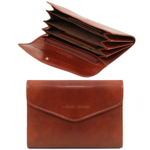 Tuscany Leather TL140786 Esclusivo portafogli in pelle da donna con soffietti Marrone