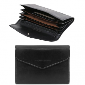 Tuscany Leather TL140786 Exclusive leather accordion wallet for women Black