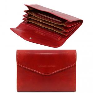 Tuscany Leather TL140786 Esclusivo portafogli in pelle da donna con soffietti Rosso
