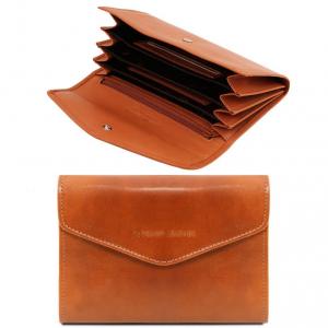 Tuscany Leather TL140786 Esclusivo portafogli in pelle da donna con soffietti Miele