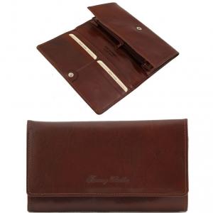 Tuscany Leather TL140787 Esclusivo portafogli in pelle da donna con soffietti Marrone
