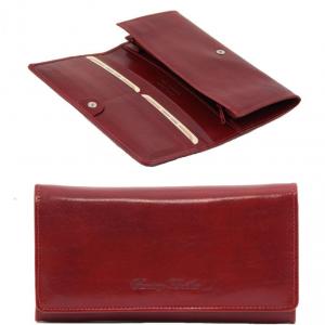 Tuscany Leather TL140787 Esclusivo portafogli in pelle da donna con soffietti Rosso