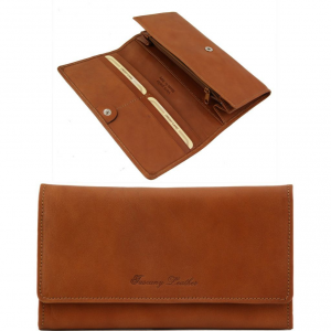Tuscany Leather TL140787 Esclusivo portafogli in pelle da donna con soffietti Miele