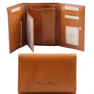 Tuscany Leather TL141314 Esclusivo portafogli in pelle da donna 3 ante Miele