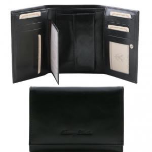 Tuscany Leather TL141314 Esclusivo portafogli in pelle da donna 3 ante Nero