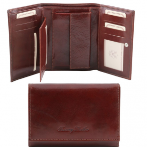 Tuscany Leather TL141314 Esclusivo portafogli in pelle da donna 3 ante Marrone