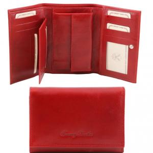 Tuscany Leather TL141314 Esclusivo portafogli in pelle da donna 3 ante Rosso