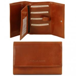 Tuscany Leather TL140796 Esclusivo portafogli in pelle da donna 4 ante Miele