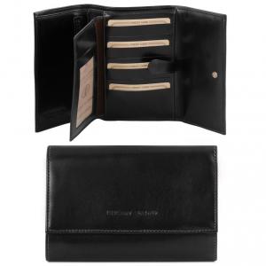 Tuscany Leather TL140796 Esclusivo portafogli in pelle da donna 4 ante Nero