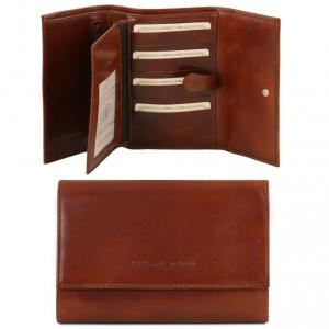 Tuscany Leather TL140796 Esclusivo portafogli in pelle da donna 4 ante Marrone
