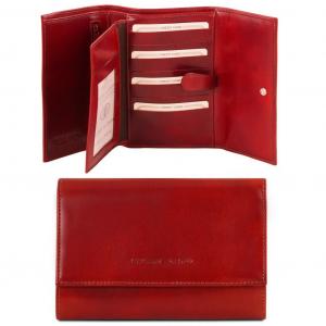 Tuscany Leather TL140796 Esclusivo portafogli in pelle da donna 4 ante Rosso