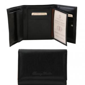 Tuscany Leather TL140790 Esclusivo portafogli in pelle da donna 4 ante Nero