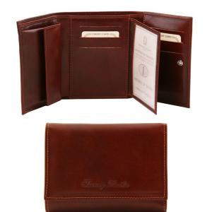 Tuscany Leather TL140790 Esclusivo portafogli in pelle da donna 4 ante Marrone