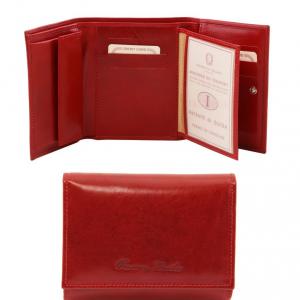 Tuscany Leather TL140790 Esclusivo portafogli in pelle da donna 4 ante Rosso