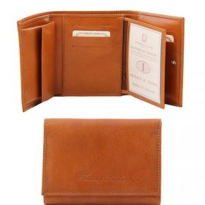 Tuscany Leather TL140790 Esclusivo portafogli in pelle da donna 4 ante Miele