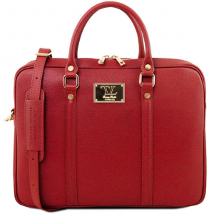 Tuscany Leather TL141626 Prato - Exclusive Saffiano leather laptop case Red
