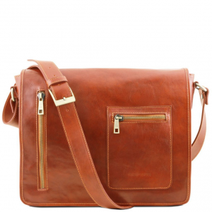 Tuscany Leather TL141650 TL Messenger - Leather double compartment laptop shoulder bag Honey