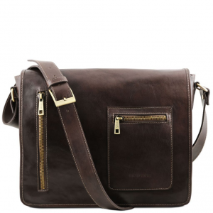 Tuscany Leather TL141650 TL Messenger - Leather double compartment laptop shoulder bag Dark Brown