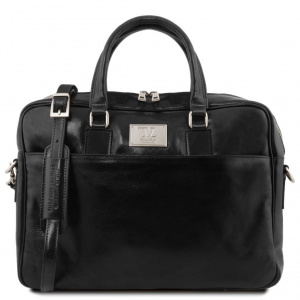 Tuscany Leather TL141241 Urbino - Leather laptop briefcase with front pocket Black