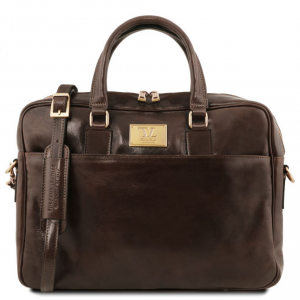 Tuscany Leather TL141241 Urbino - Leather laptop briefcase with front pocket Dark Brown