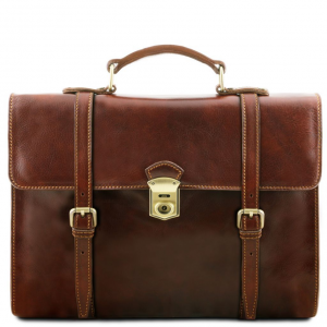 Tuscany Leather TL141558 Viareggio - Exclusive leather laptop case with 3 compartments Brown