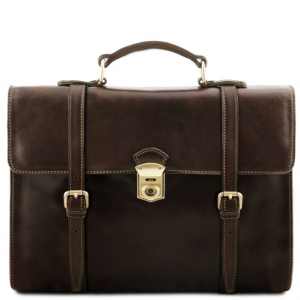 Tuscany Leather TL141558 Viareggio - Exclusive leather laptop case with 3 compartments Dark Brown