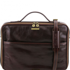 Tuscany Leather TL141240 Vicenza - Leather laptop briefcase with zip closure Dark Brown