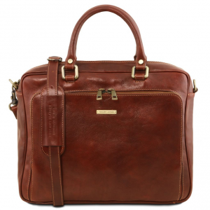 Tuscany Leather TL141660 Pisa - Leather laptop briefcase with front pocket Brown