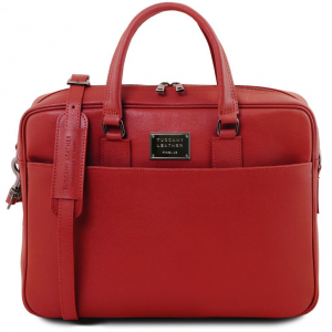 Tuscany Leather TL141627 Urbino - Saffiano leather laptop briefcase with front pocket Red