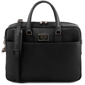 Tuscany Leather TL141627 Urbino - Saffiano leather laptop briefcase with front pocket Black