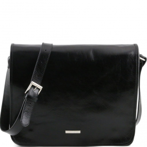 Tuscany Leather TL141254 TL Messenger - Two compartments leather shoulder bag - Large size Black