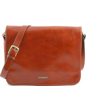 Tuscany Leather TL141254 TL Messenger - Two compartments leather shoulder bag - Large size Honey