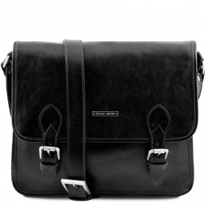 Tuscany Leather TL141288 TL Postman - Leather messenger bag Black
