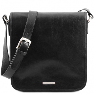 Tuscany Leather TL141260 TL Messenger - Sac bandoulière en cuir 1 compartiment Noir