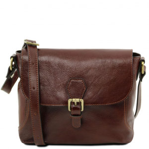 Tuscany Leather TL141278 Jody - Leather shoulder bag with flap Brown