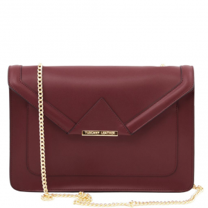 Tuscany Leather TL141567 Iride - Leather clutch with chain strap Bordeaux