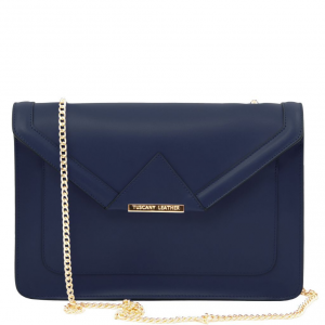 Tuscany Leather TL141567 Iride - Leather clutch with chain strap Dark Blue