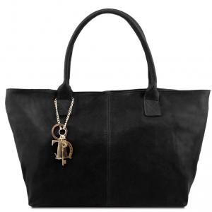 Tuscany Leather TL141207 TL KeyLuck - Leather shoulder bag Black