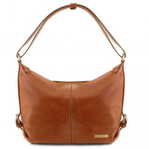 Tuscany Leather TL141479 Sabrina - Leather hobo bag Honey