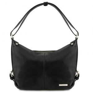 Tuscany Leather TL141479 Sabrina - Leather hobo bag Black