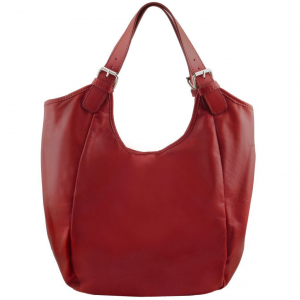 Tuscany Leather TL141357 Gina - Leather hobo bag Red