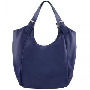 Tuscany Leather TL141357 Gina - Leather hobo bag Dark Blue