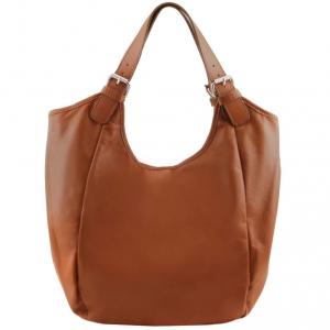Tuscany Leather TL141357 Gina - Leather hobo bag Cognac