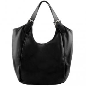 Tuscany Leather TL141357 Gina - Leather hobo bag Black