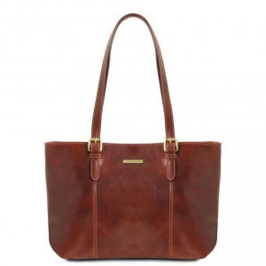 Tuscany Leather TL141710 Annalisa - Leather shopping bag with two handles Brown