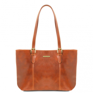 Tuscany Leather TL141710 Annalisa - Leather shopping bag with two handles Honey