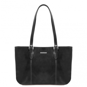 Tuscany Leather TL141710 Annalisa - Leather shopping bag with two handles Black