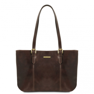 Tuscany Leather TL141710 Annalisa - Leather shopping bag with two handles Dark Brown
